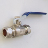 15mm Compression Water Lever Valve - Blue Handle - 07000135